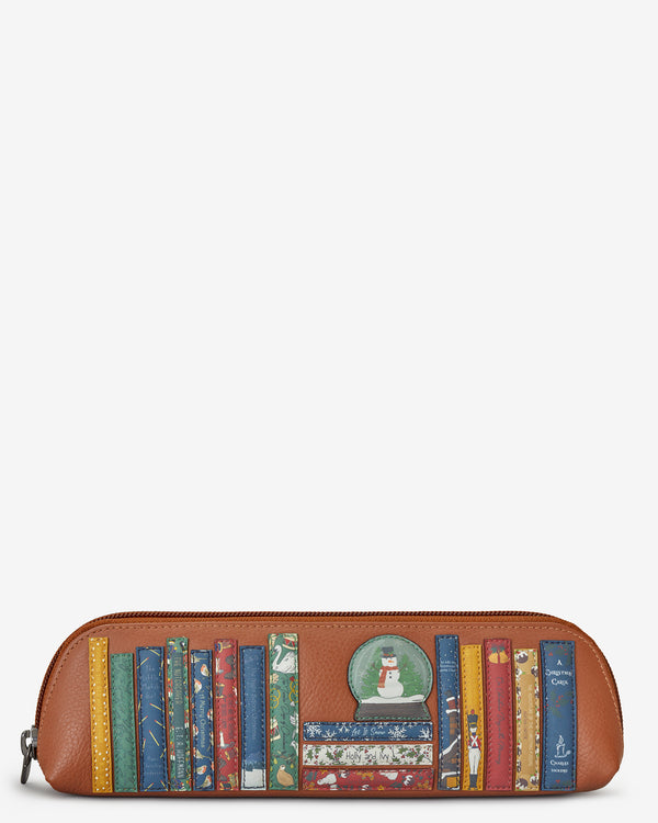 Christmas Bookworm Library Zip Top Tan Leather Pouch Pencil Case