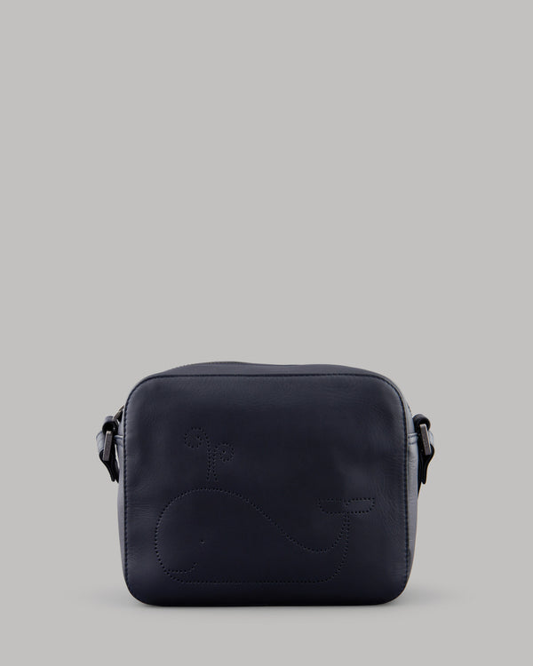 Wilbur the Whale Navy Leather Shoulder Bag