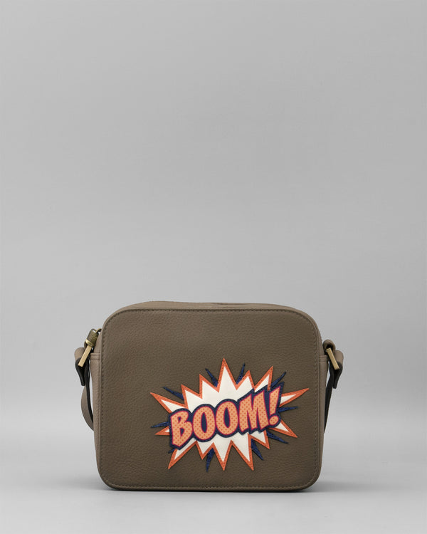 YB200 BOOM - Yoshi Leather Shoulder Bag with BOOM Appliques