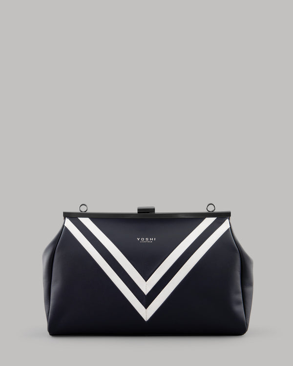 Deuce Navy Leather Frame Shoulder Clutch Bag