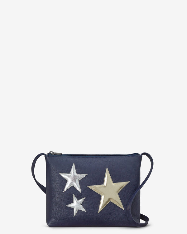 Stars Navy Leather Parker Cross Body Bag