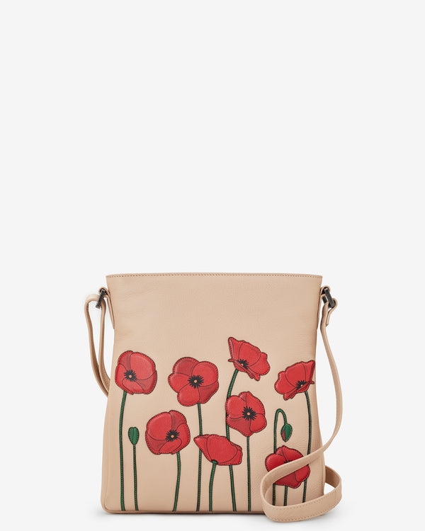 Poppy Flower Bryant Leather Cross Body Bag