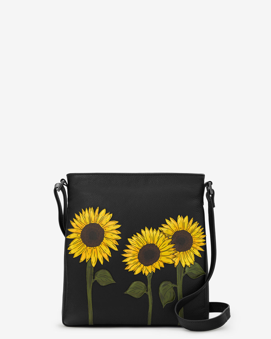 Sunflowers Leather Cross Body Bag