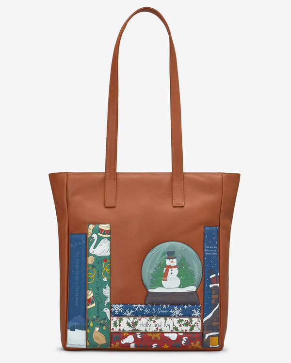 Christmas Bookworm Tan Leather Marlowe Shopper Bag