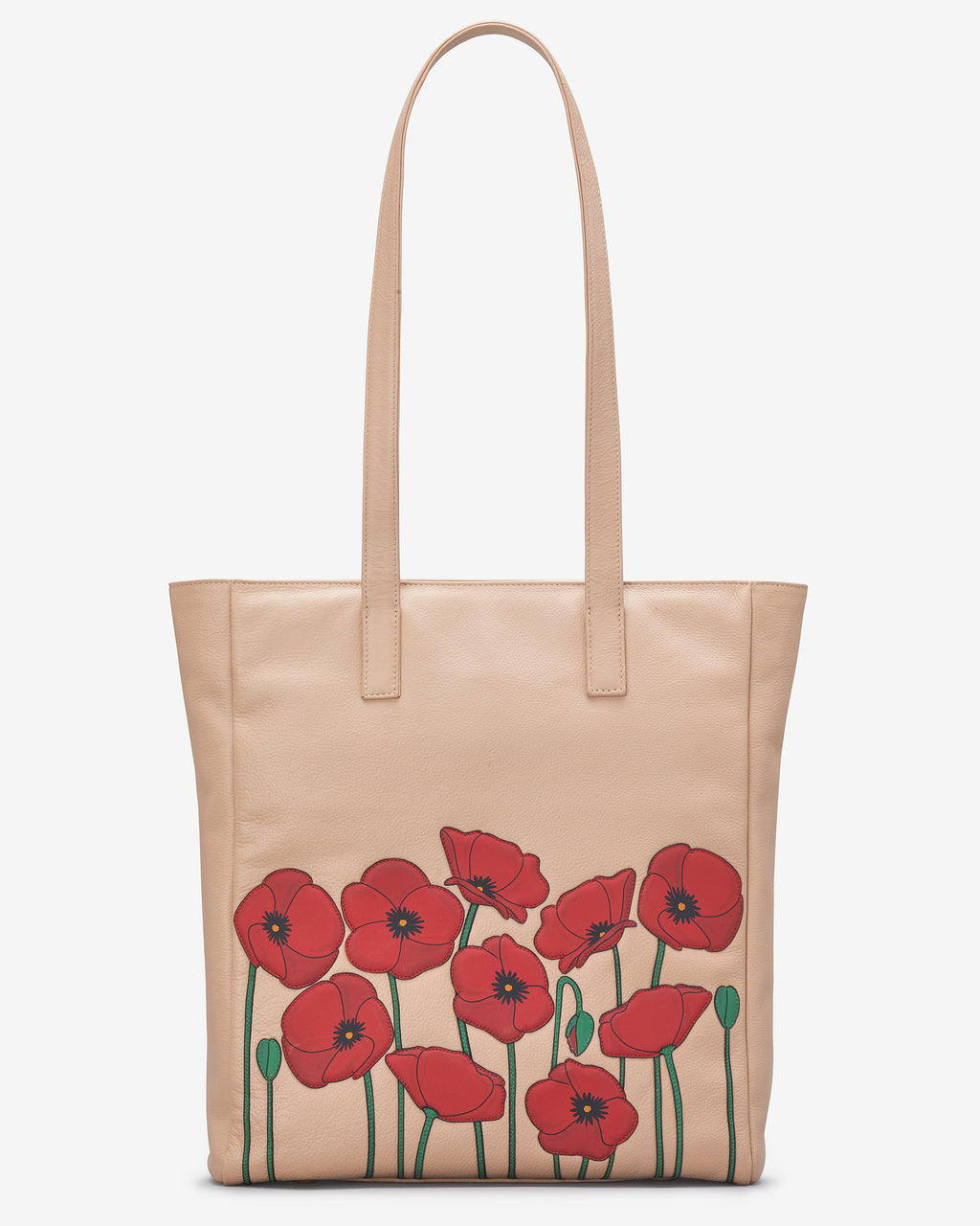 Poppy Flower Leather Marlowe Shopper Bag