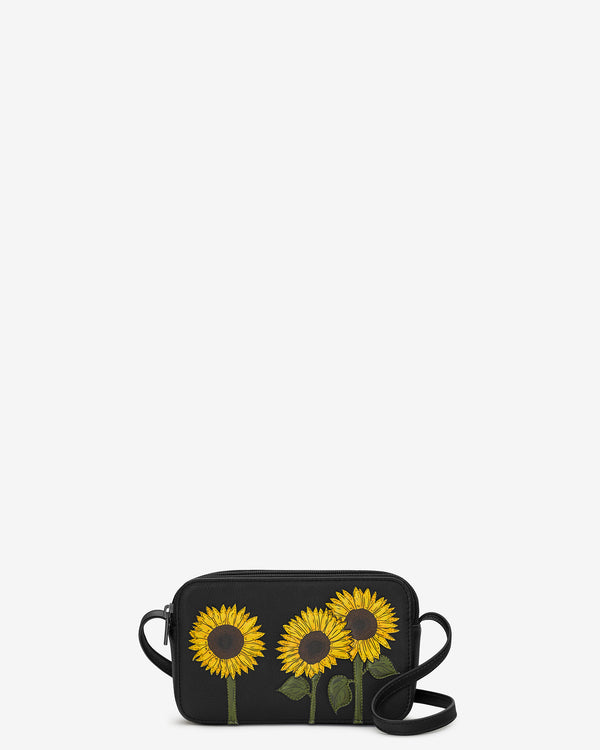 Sunflowers Porter Leather Cross Body Bag