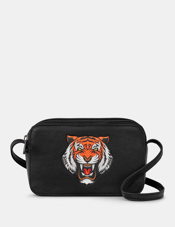 Tiger Black Leather Cross Body Bag