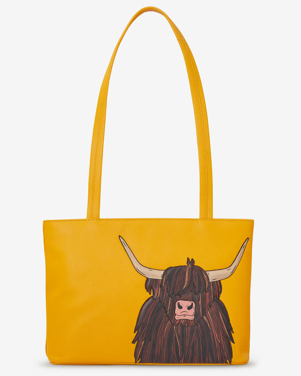 Leather Highland Cow Shoulder Bag
