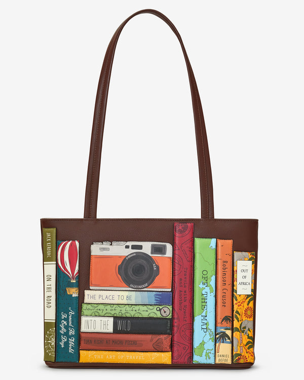 Travel Bookworm Library Leather Shoulder Bag