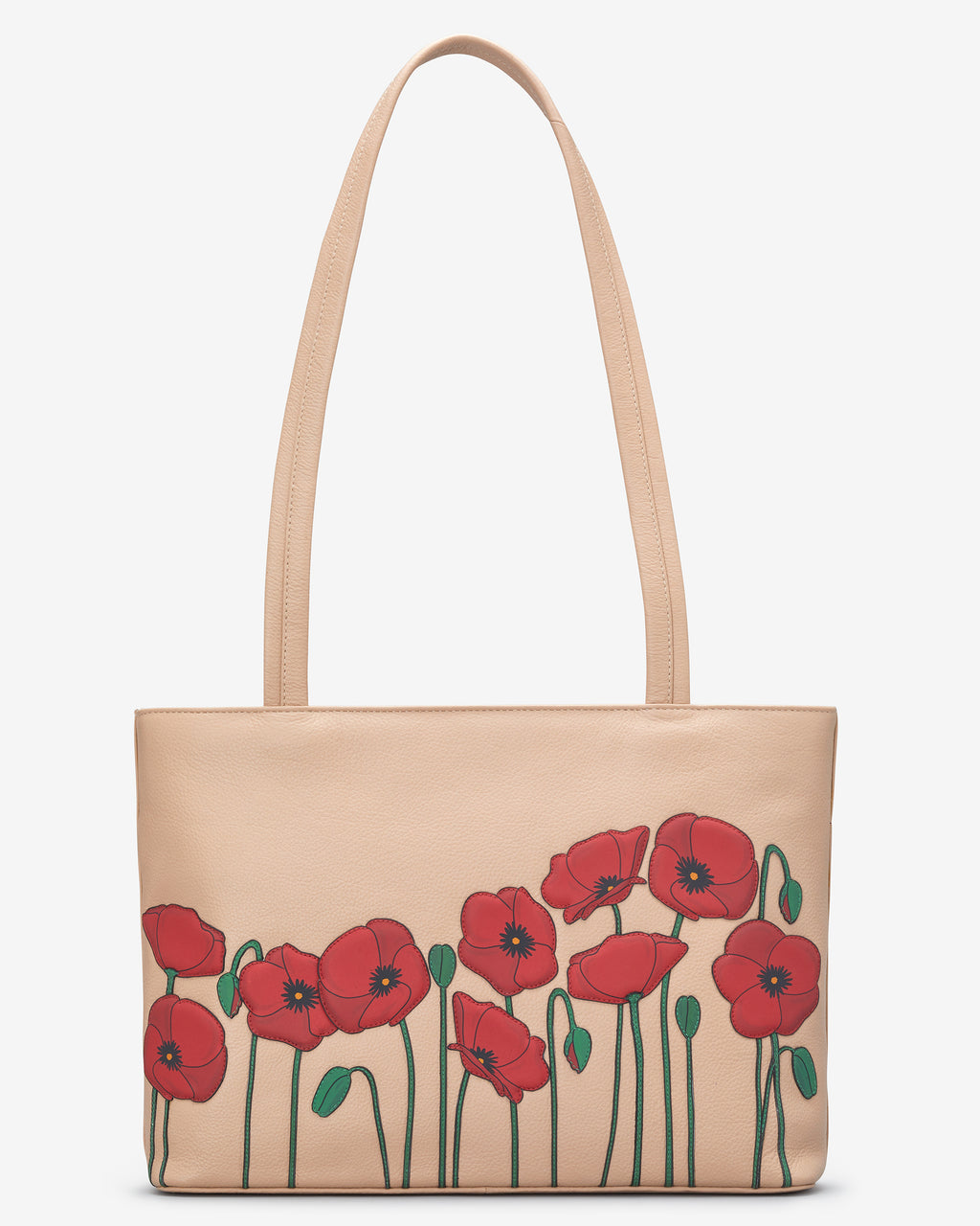 Poppy Flower Leather Shoulder Bag