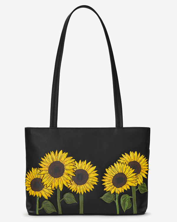 Womens Leather Sunflower Picture Handbag Satchel Tote Bag Tote Purse