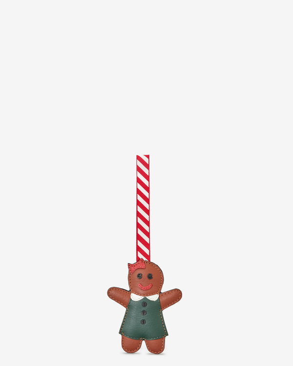 Gingerbread Girl Leather Christmas Tree Decoration