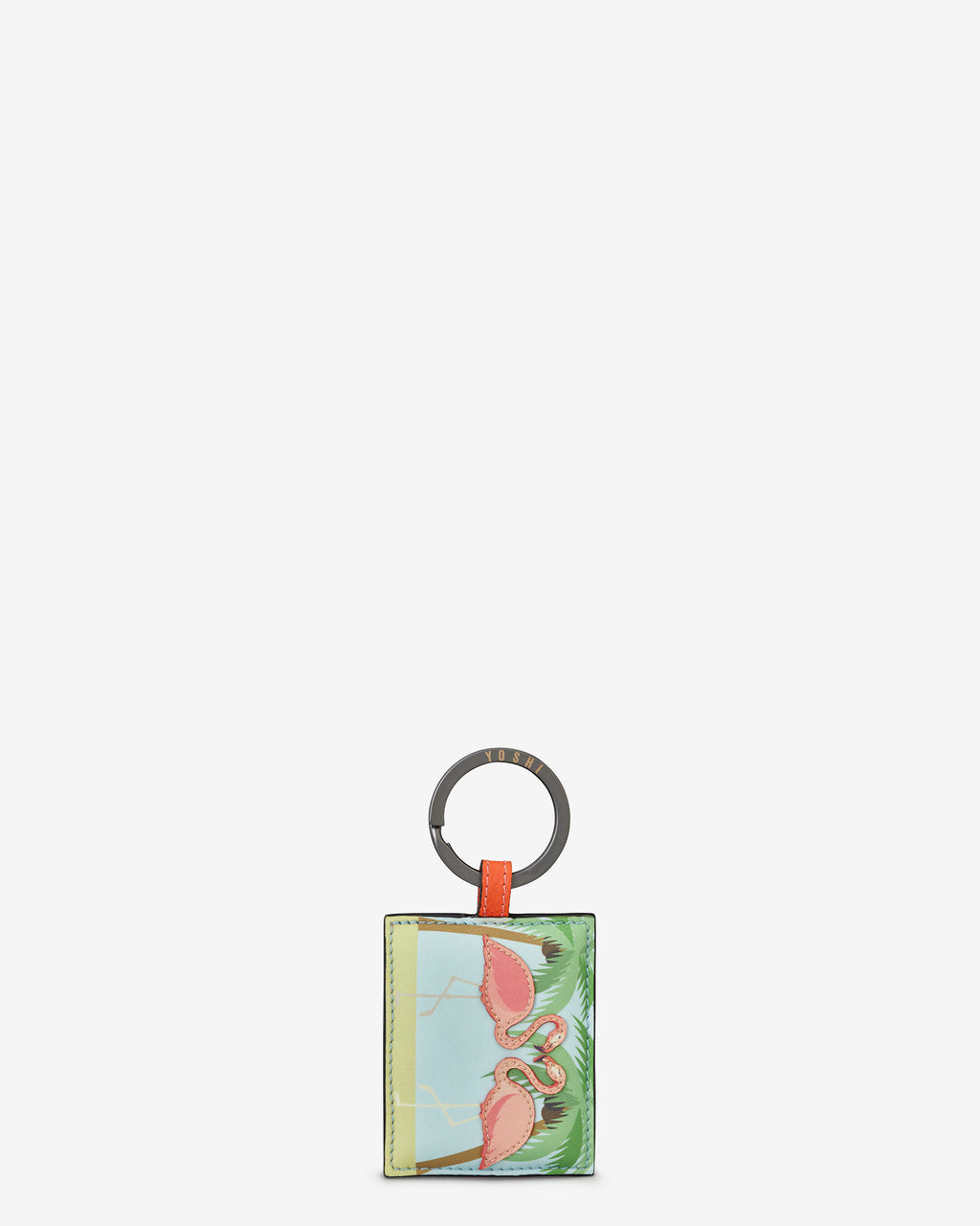 Flock Of Flamingos Leather Keyring