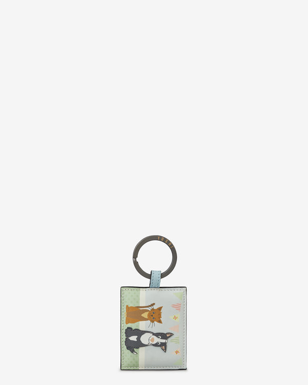 Dog And Cat Pet Party Leather Keyring