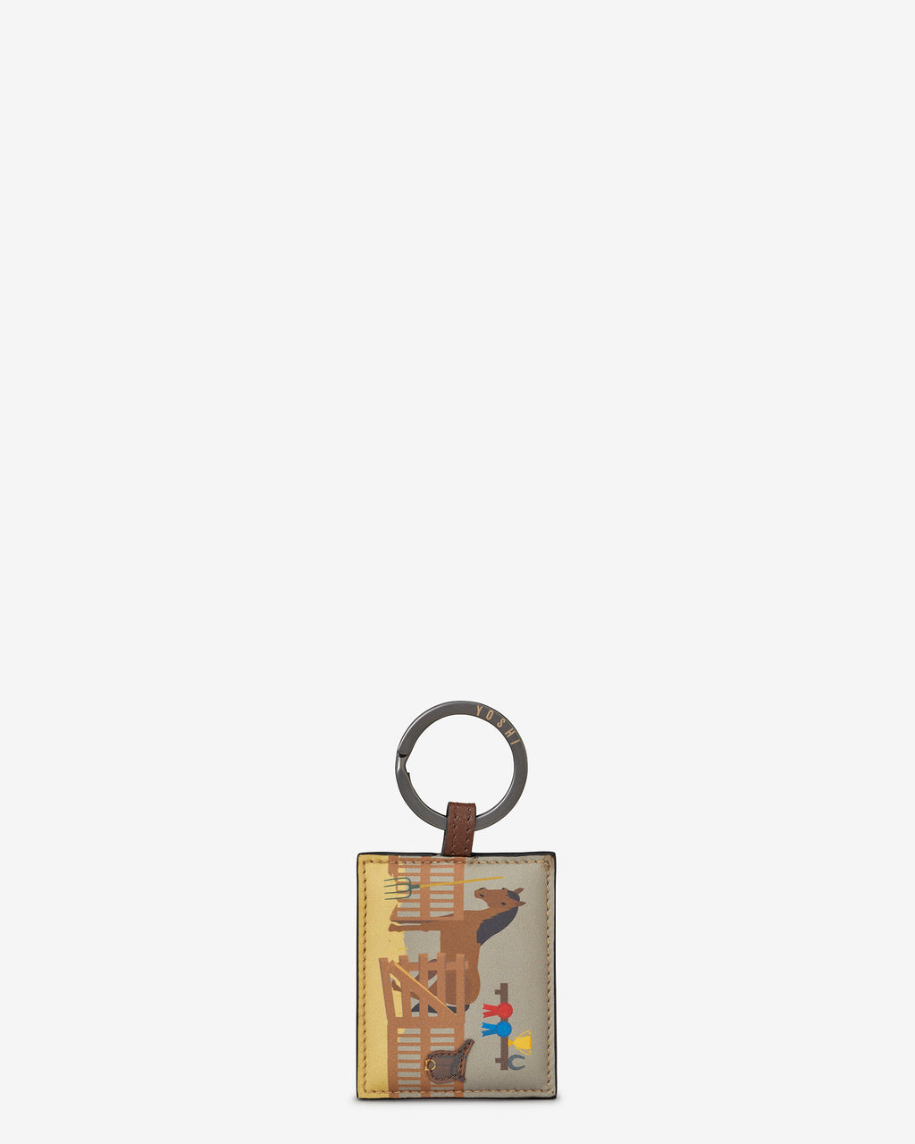 Horse Stables Leather Keyring