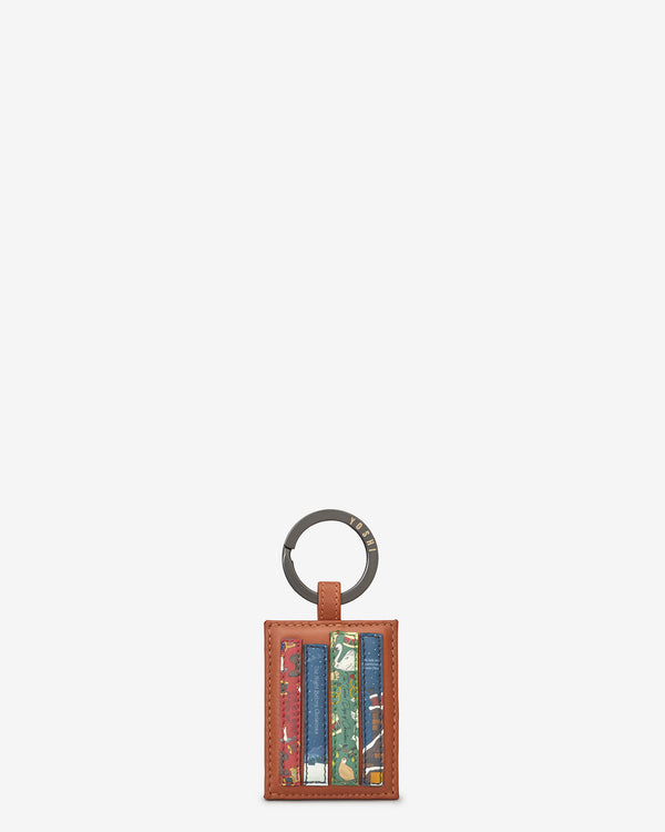Christmas Bookworm Library Tan Leather Keyring