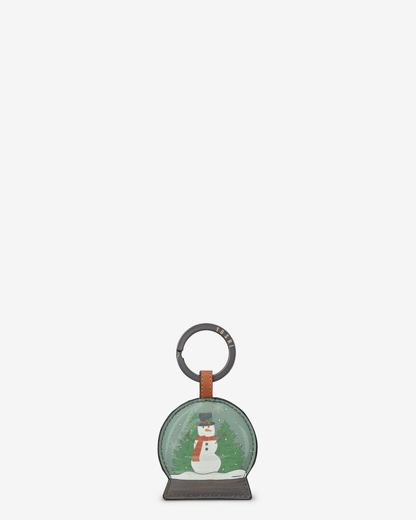 Christmas Bookworm Snow Globe Leather Keyring