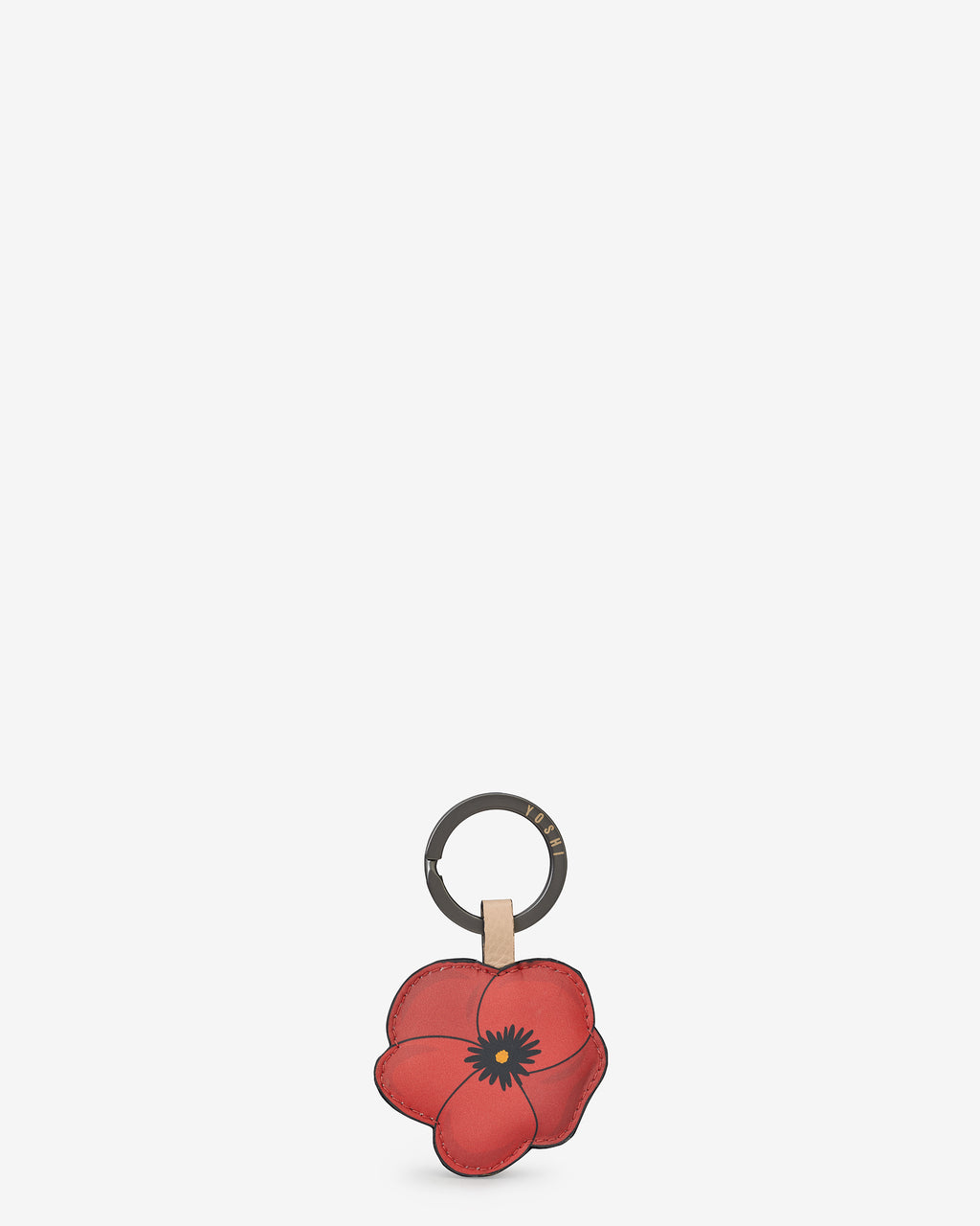 Poppy Flower Leather Keyring