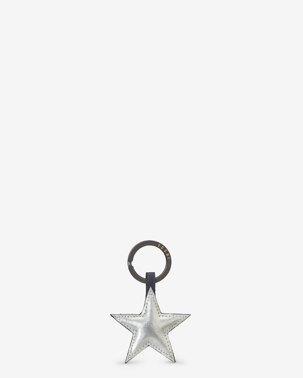 Stars Navy Leather Keyring