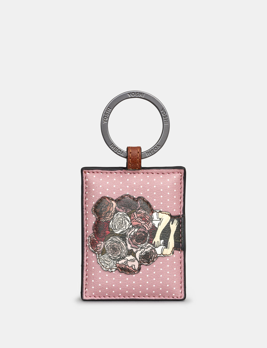 Pretty Peonies Leather Keyring