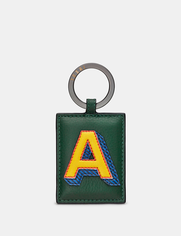 A Initial Green Leather Keyring