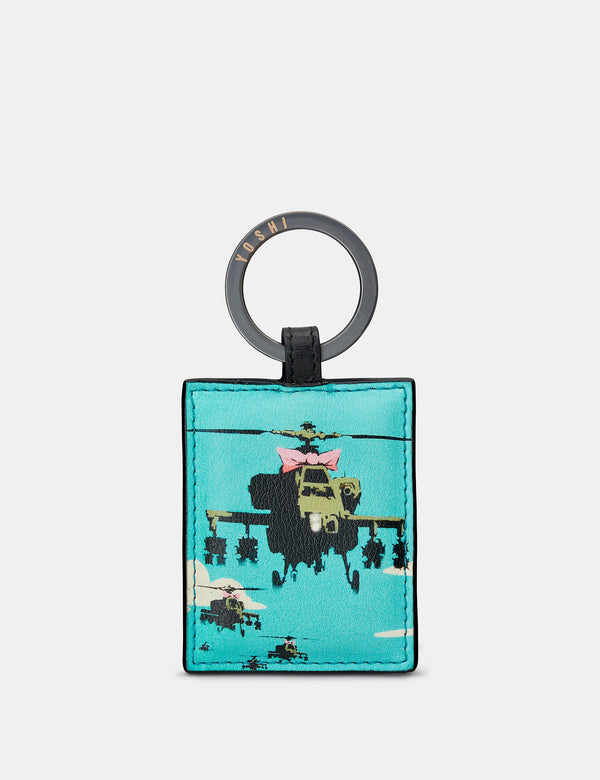 Banksy Apache Black Leather Keyring
