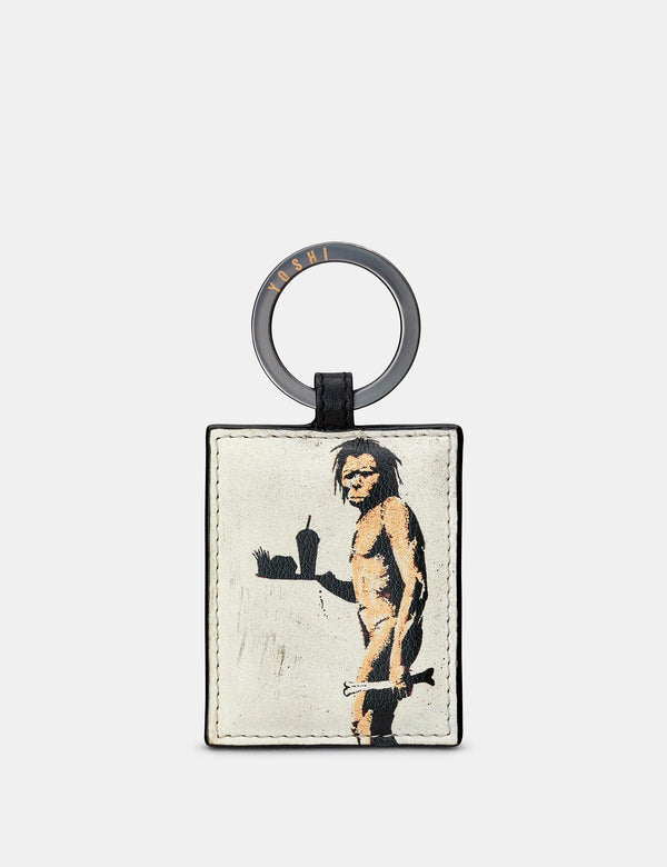 Banksy Ape Man Black Leather Keyring