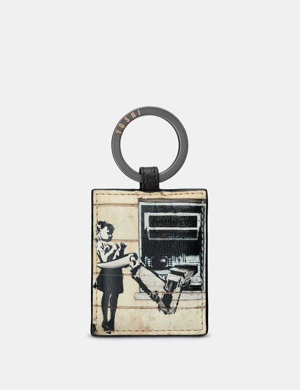 Banksy Cash Machine Black Leather Keyring