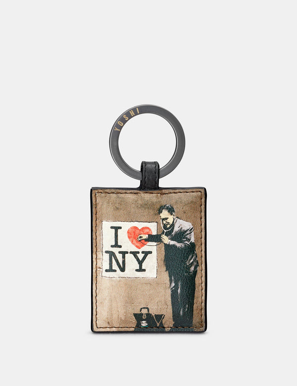 Banksy NY Black Leather Keyring