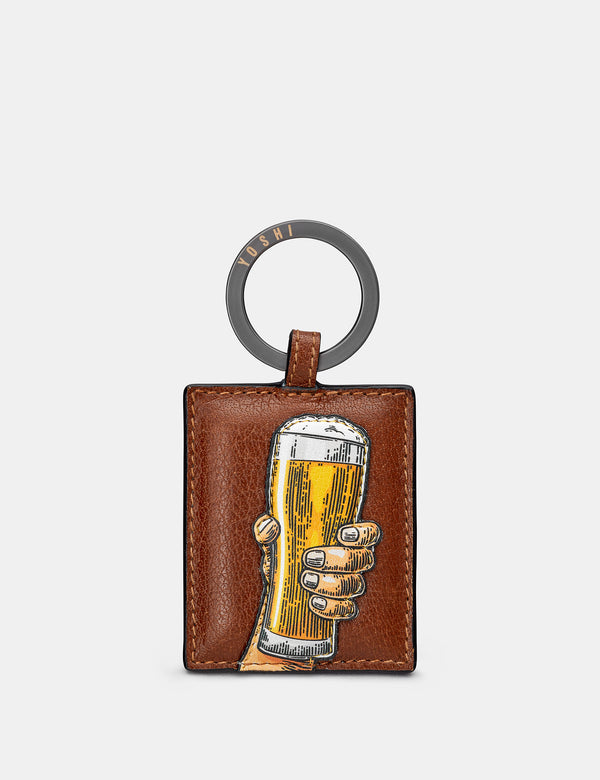 Cheers Brown Leather Keyring
