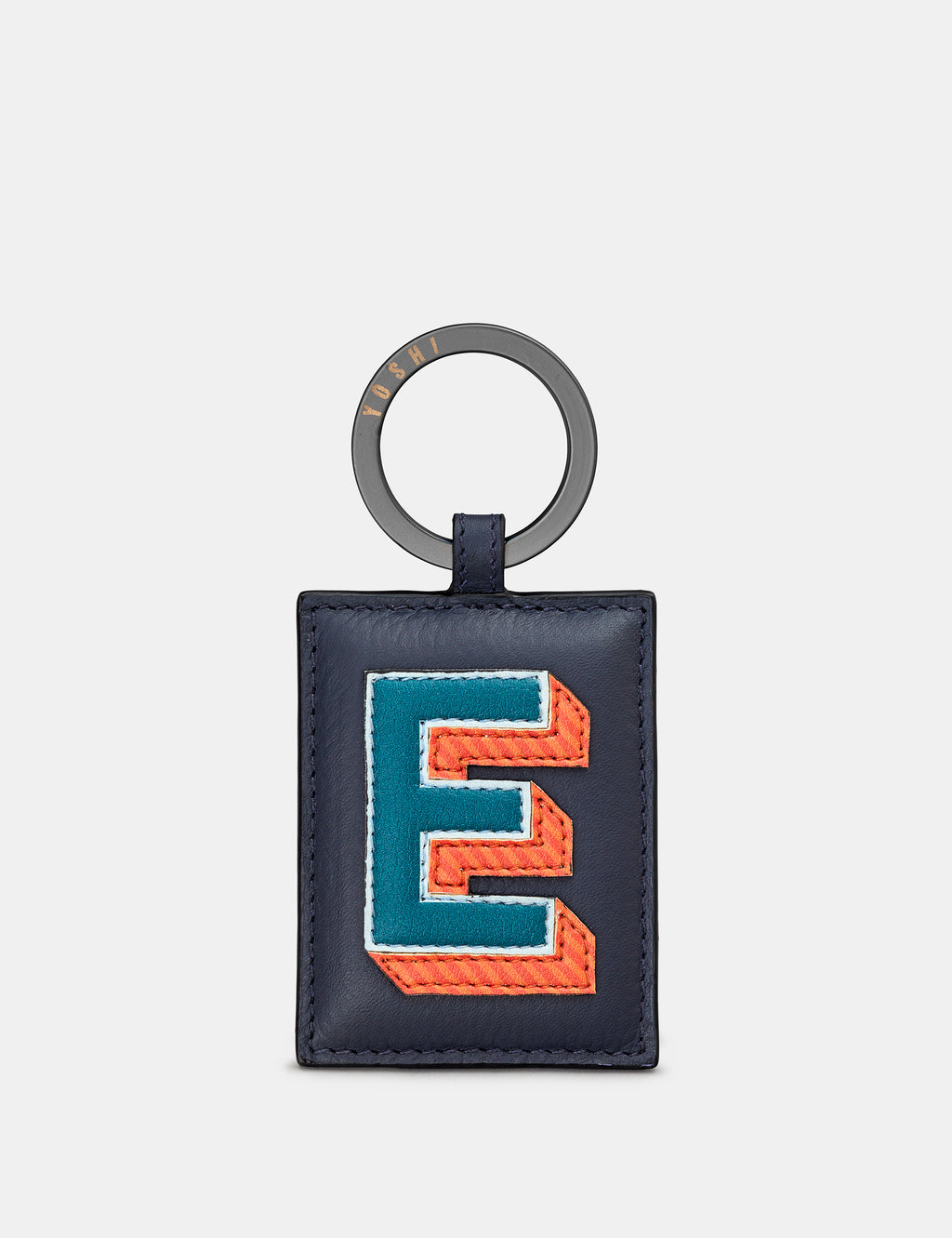 E Initial Navy Leather Keyring