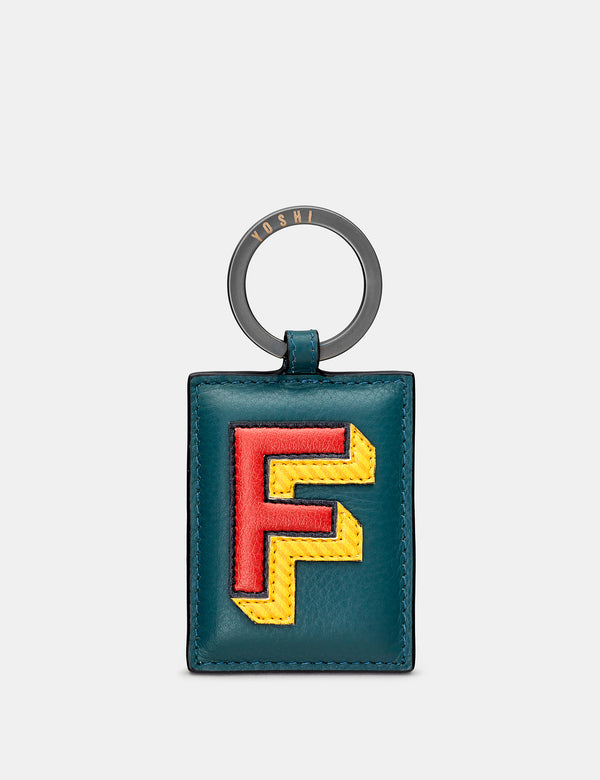 F Initial Teal Leather Keyring