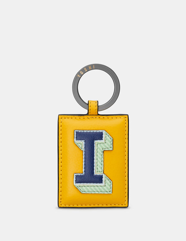I Initial Mustard Yellow Leather Keyring