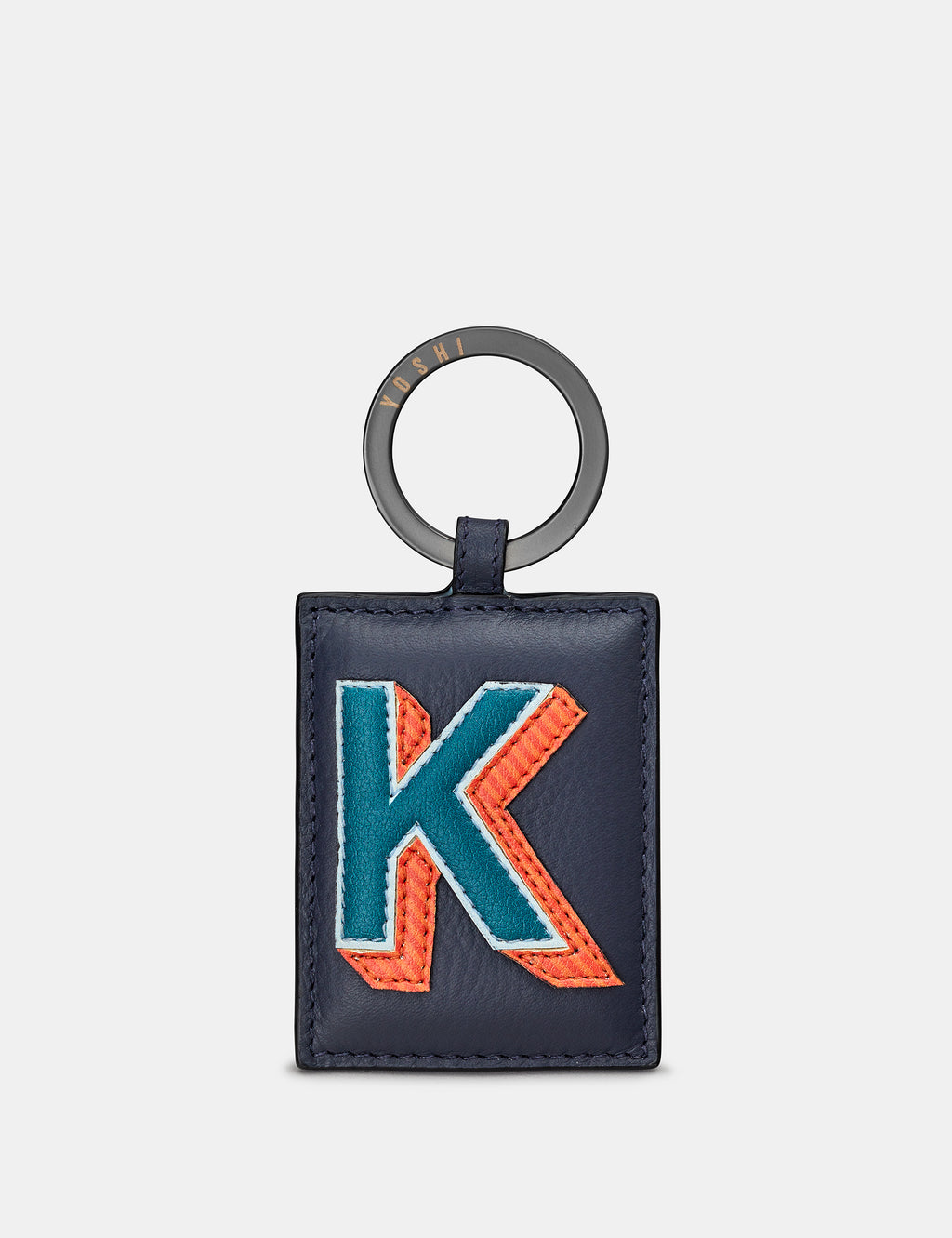 K Initial Navy Leather Keyring