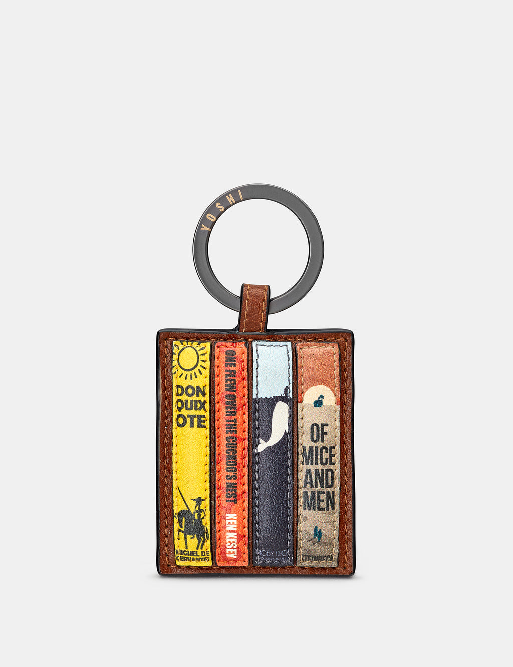 Bookworm Library Brown Leather Keyring