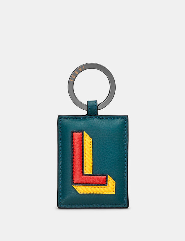 L Initial Teal Leather Keyring