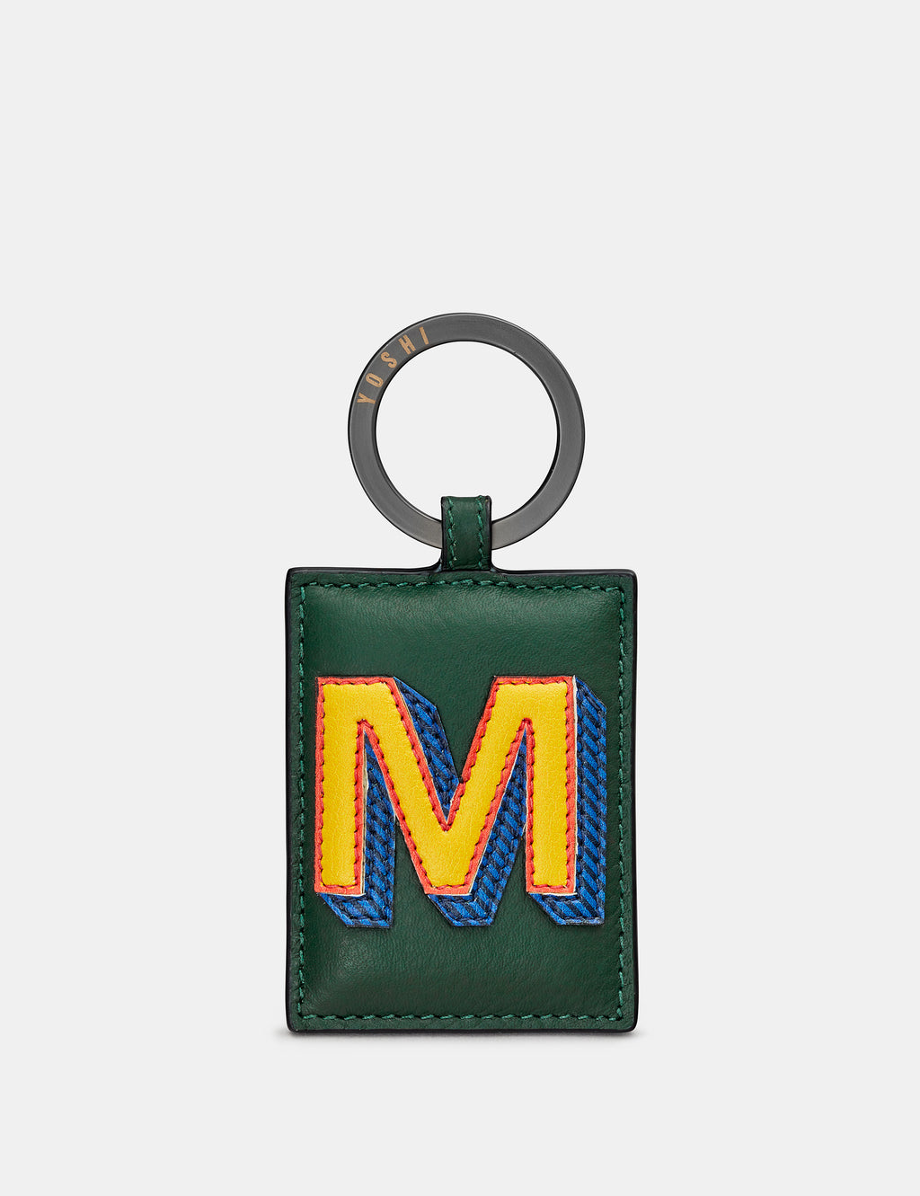 M Initial Green Leather Keyring