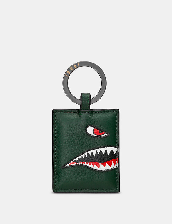 Nose Cone Green Leather Keyring