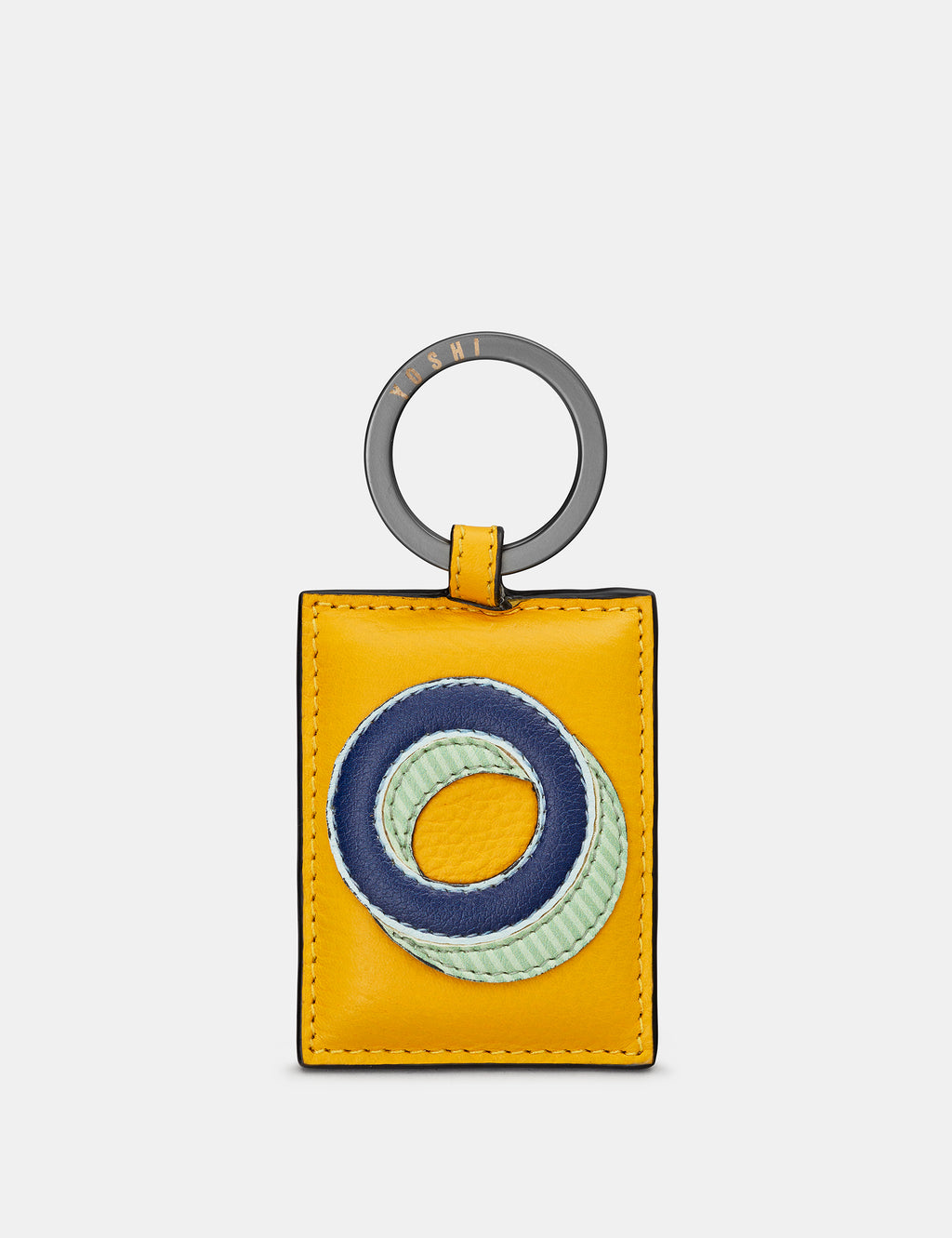 O Initial Mustard Yellow Leather Keyring