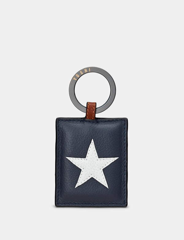 Star & Stripes Navy Leather Keyring