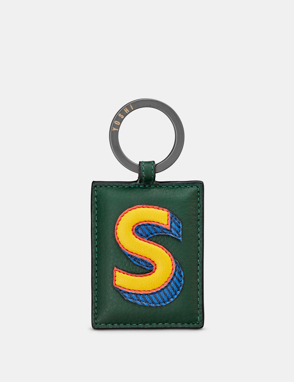 S Initial Green Leather Keyring