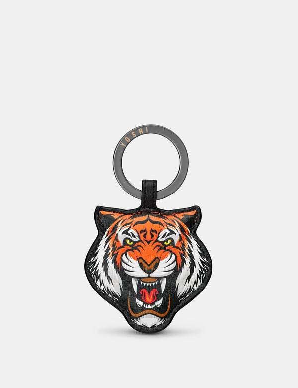 Tiger Black Leather Keyring
