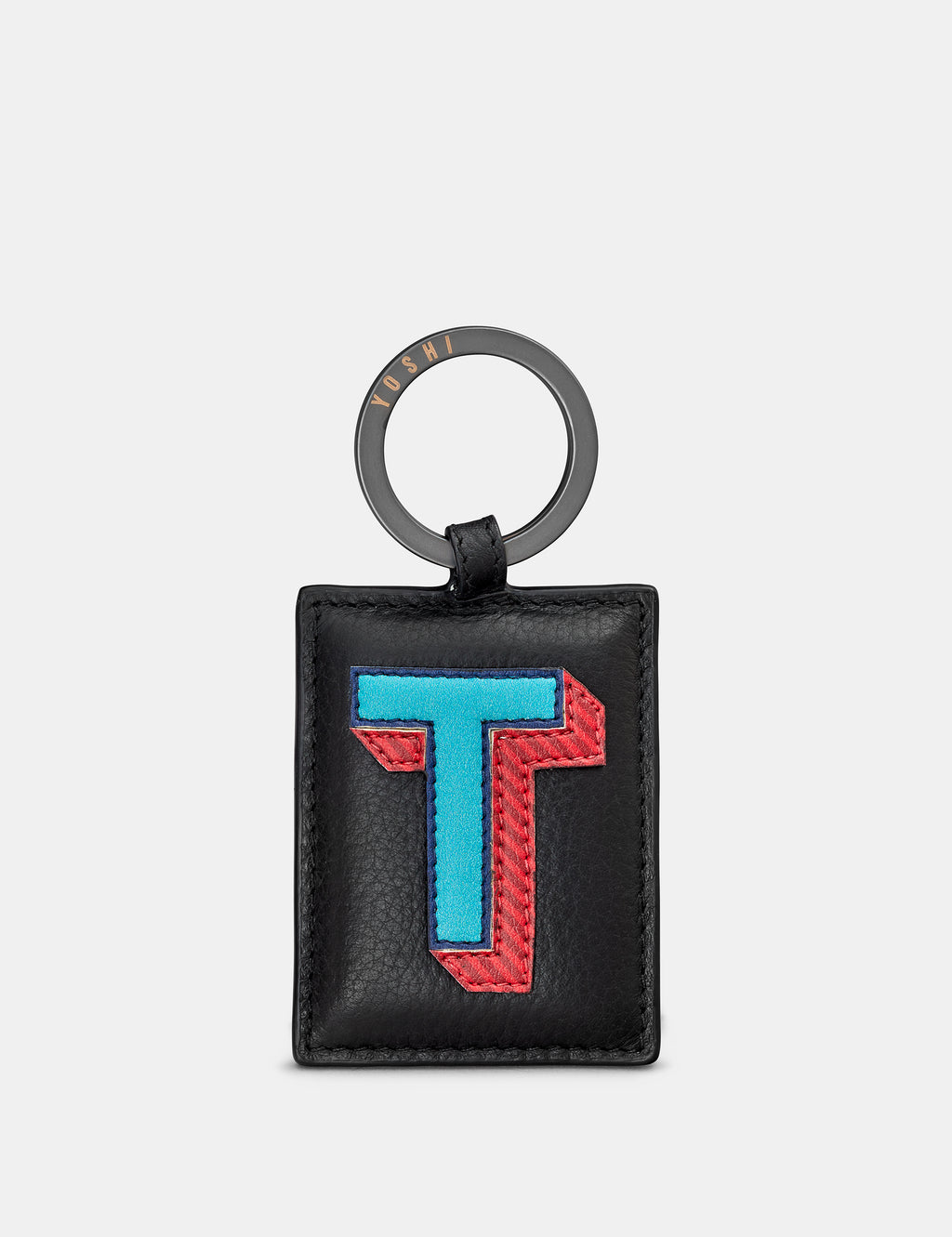 T Initial Black Leather Keyring
