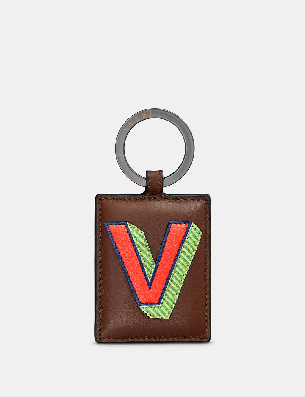 V Initial Brown Leather Keyring