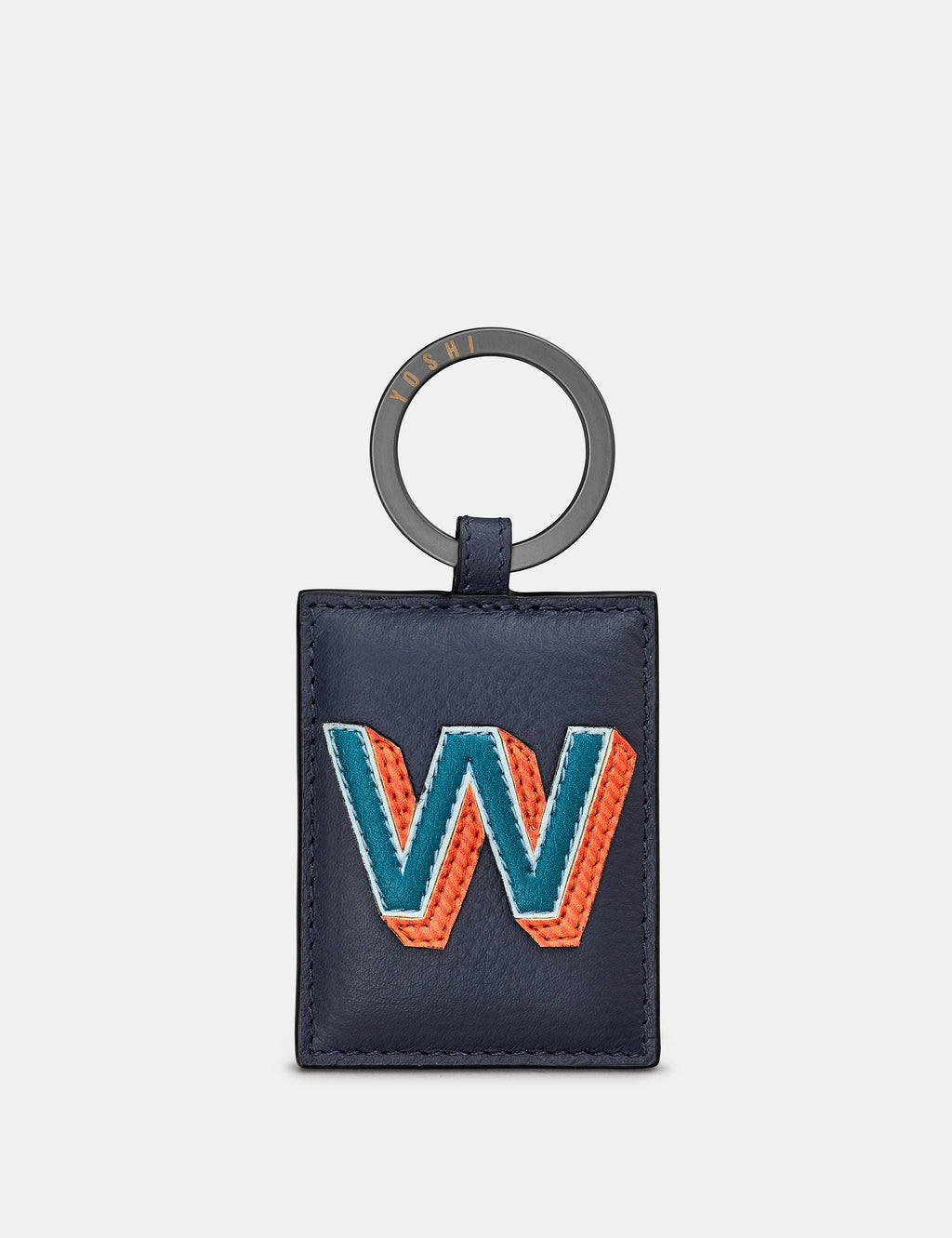 W Initial Navy Leather Keyring