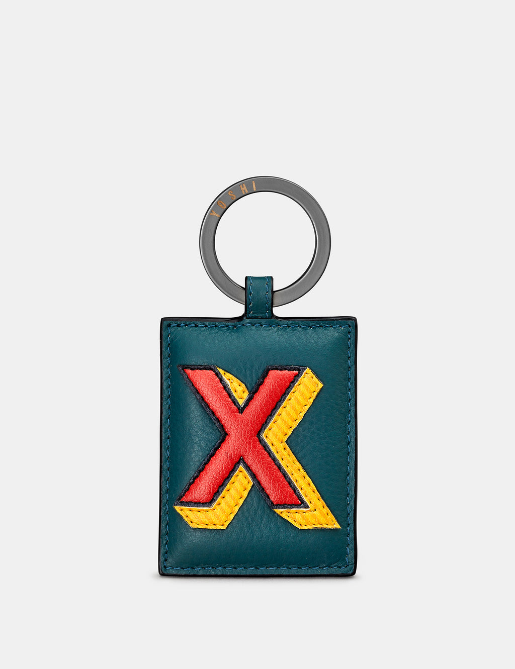 X Initial Teal Leather Keyring