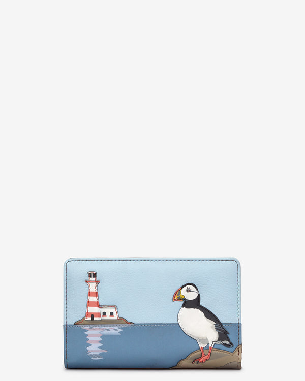 Puffin Island Flap Over Zip Around Leather Purse
