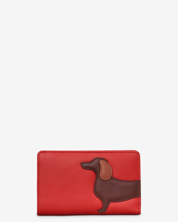 Dottie The Dachshund Medium Zip Around Leather Purse