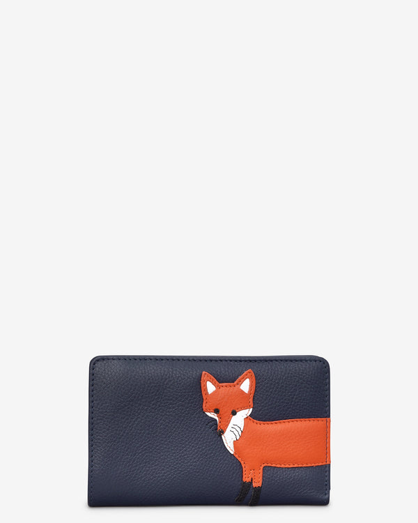 Fergus The Fox Medium Zip Around Leather Purse