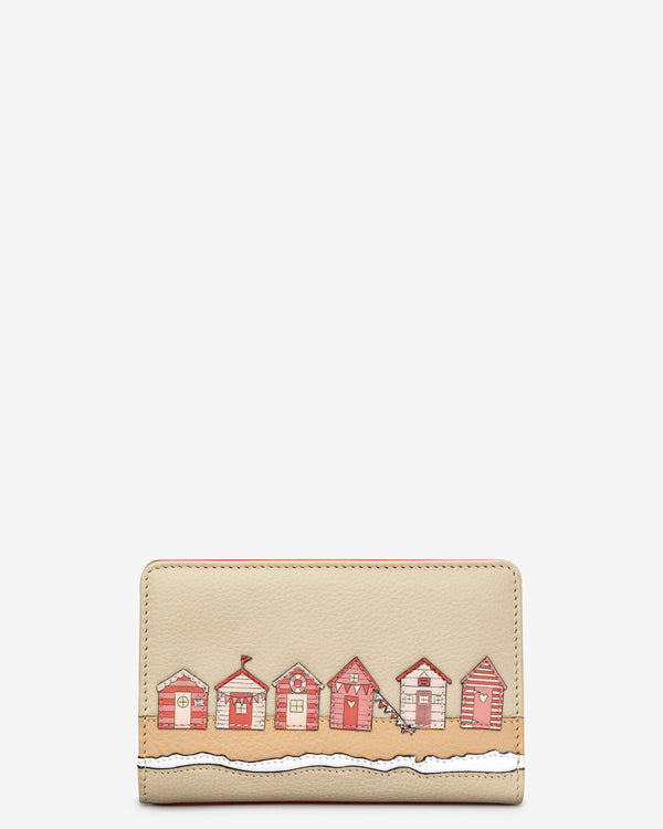 Beach Life Flap Over Zip Around Leather Purse
